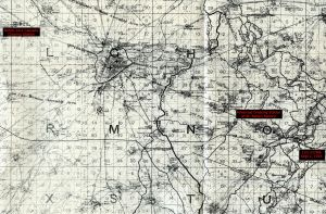 Map showing Valentine's evacuation on Sept 2, 1918