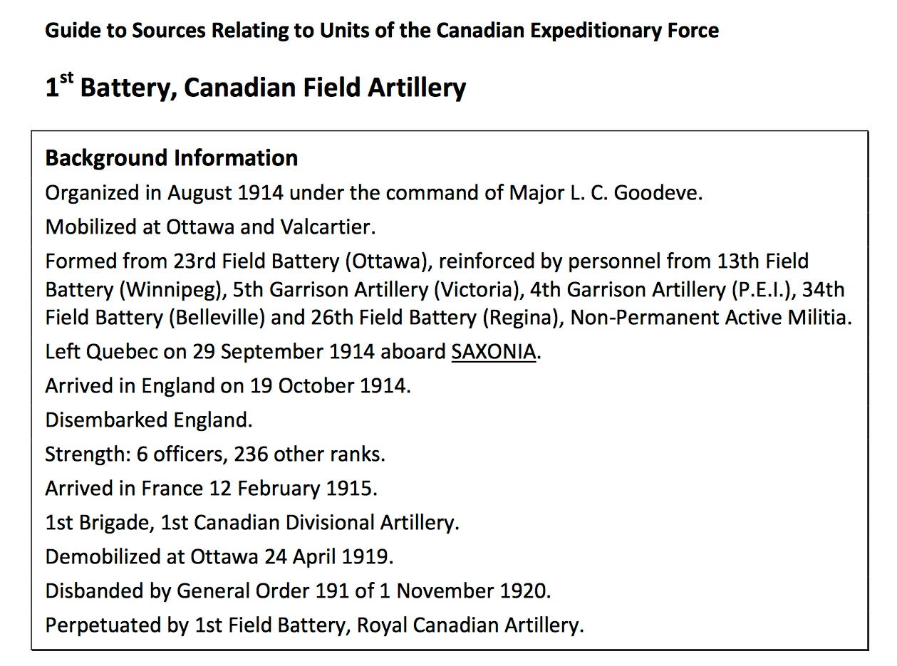 """An example from the """"Guide to Sources Relating to Units of the Canadian  Expeditionary Force"""
