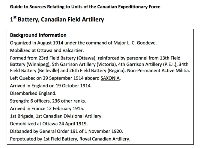 "An example from the ""Guide to Sources Relating to Units of the Canadian Expeditionary Force"""
