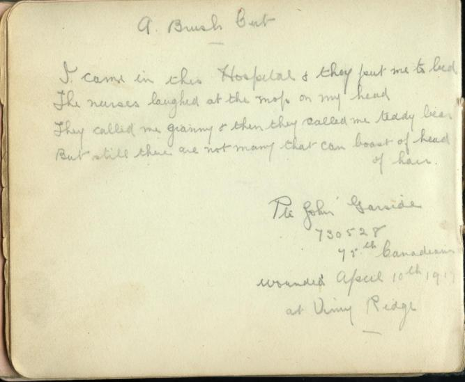 From Nurse Ethel Styles' autograph album