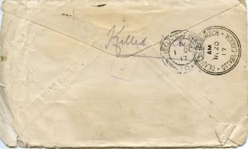 The back of Frieda's undelivered letter to Frank