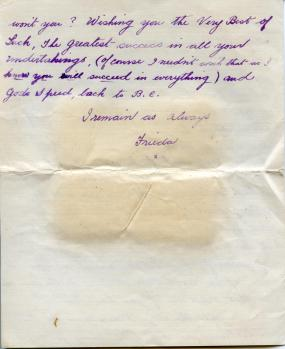 The last page of Frieda's unread letter to Frank