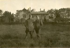 2Lt C.F. Grant (in maternity tunic). Could other soldier be W.H. Webber?
