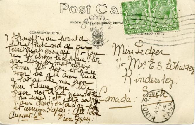 The back of the postcard mailed to Canada on Aug. 6, 1914