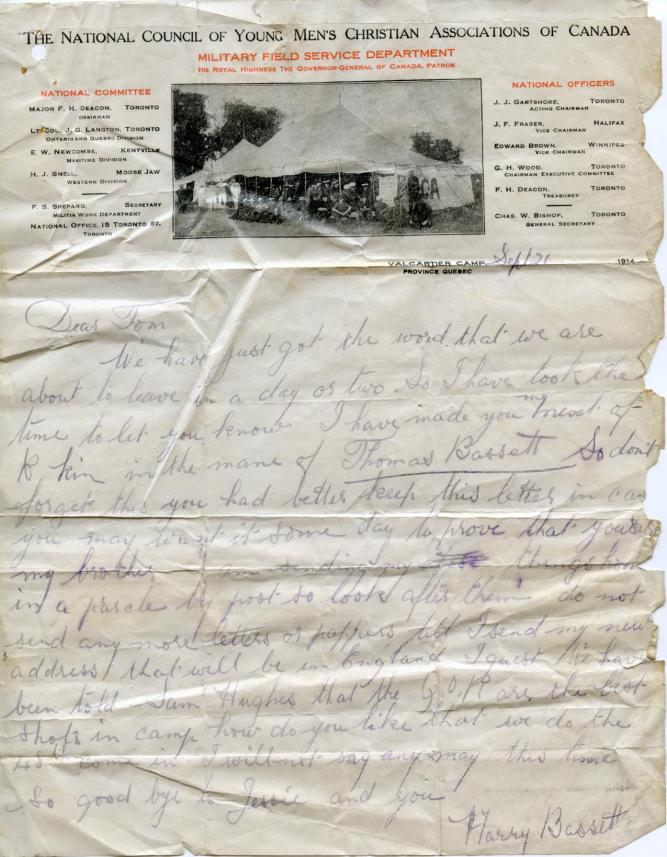 A letter written 21 Sep 1914  from Harry to his brother Thomas in Toronto