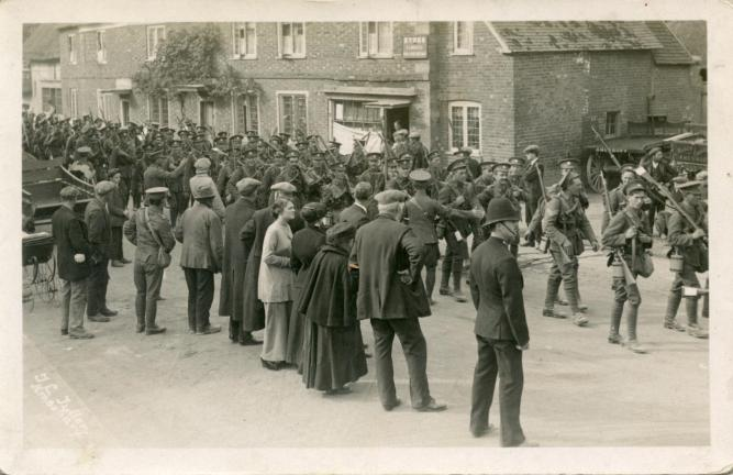 Canadians marching through Amesbury in 1914