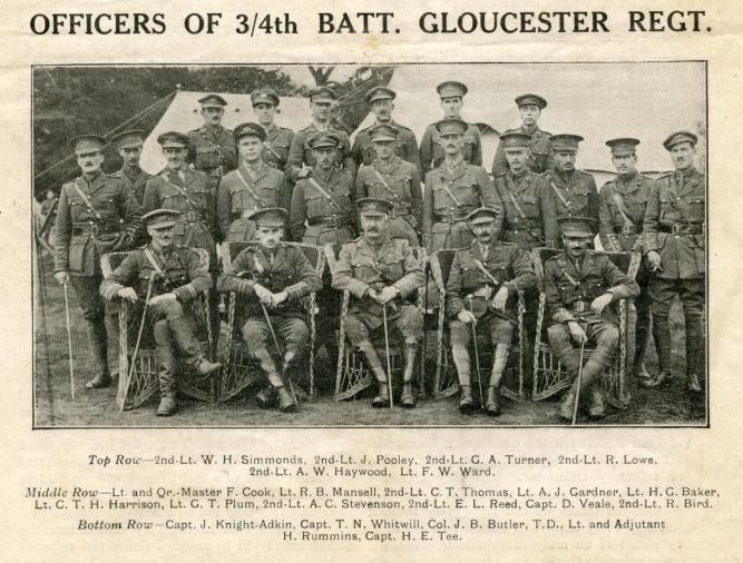 Officers of 3/4 Batt Gloucester Regt from Nov. 1, 1915 issue of Bristol & The War