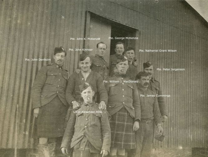 """Chums in the Hut"" - a photo from Pte John Denholm's First World War scrapbook"