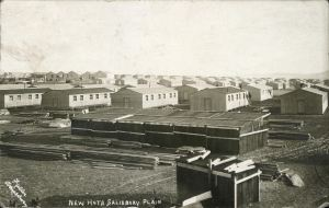 T.L. Fuller postcard showing new huts under construction