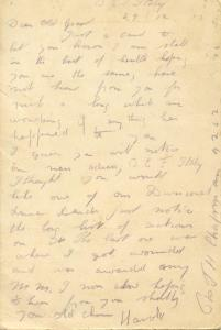 Chapman's note to his Gran written Dec. 29, 1917