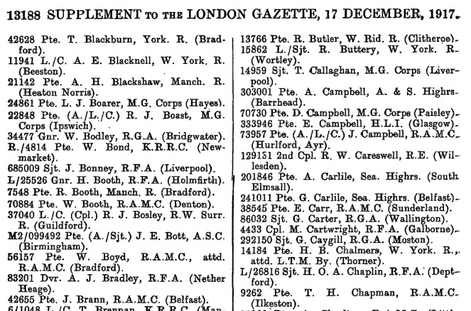 Military Medal Citation in the London Gazette