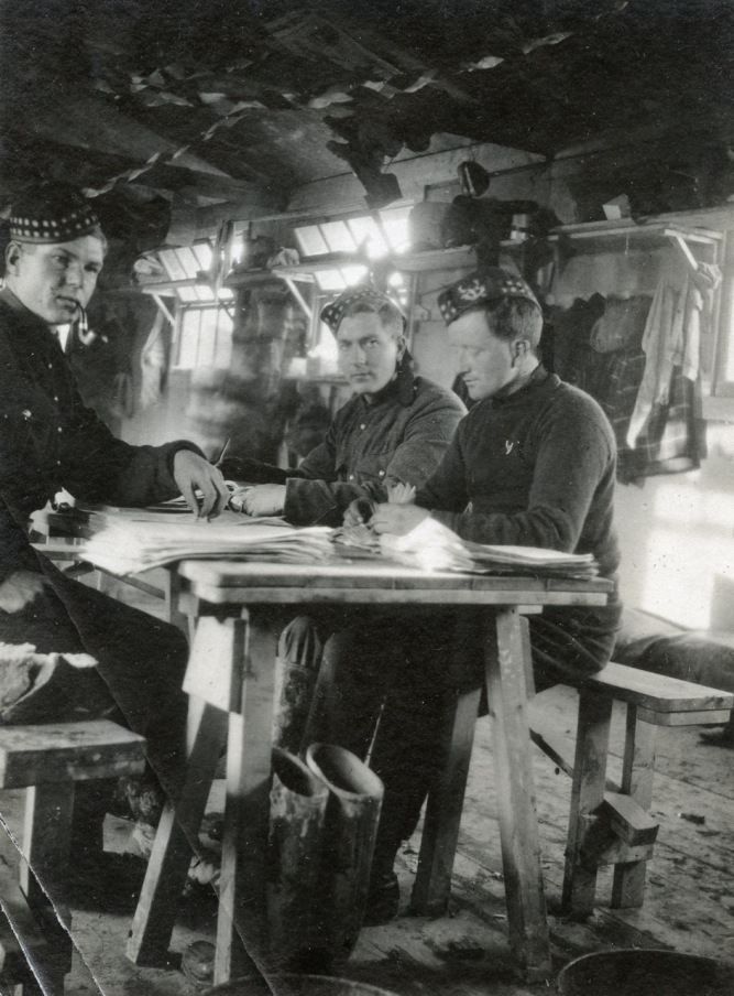 Checking Attestation Papers in a Lark Hill hut on Salisbury Plain