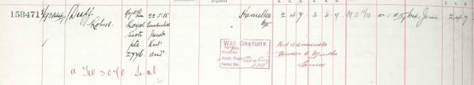 Robert enlisted on Jan. 5 1915 and so his widow Jesse was not eligible for the £3 War Gratuity