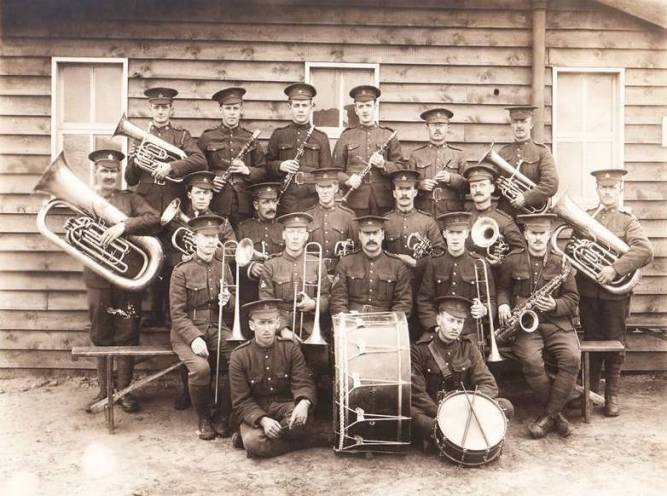 Frederick Vickery Webber, 2nd row on left, with 54th Battalion Band, France 1918 Photo courtesy of Dave Webber