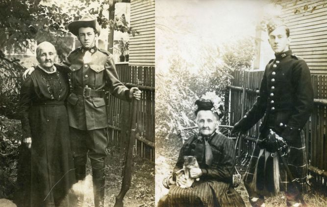 Eustace R Shearman with his grandmother Jane Rees Shearman (nee Evans). Left: Vancouver High School Cadet (1912) and Right: Seaforth Highlander Cadet (1913)