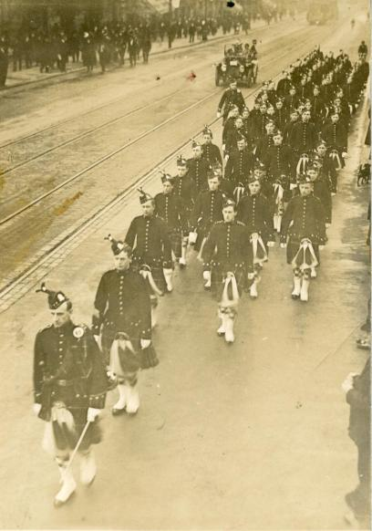 72nd Seaforth Highlanders' Cadets on the march