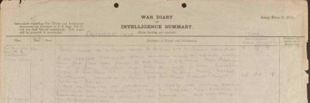 16/Lancashire Fusiliers War Diary excerpt (source: National Archives)
