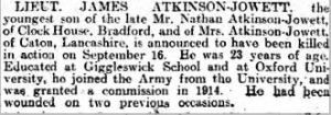 26 Sep 1916 Yorkshire Post & Leeds Intelligencer