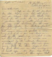 John's Letter to his mother on Sept 3, 1916 (page 1)