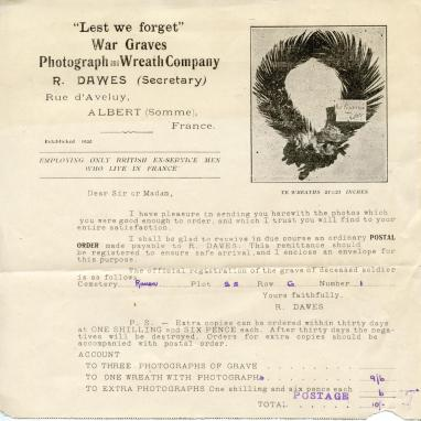 Invoice for photos and wreath-laying services
