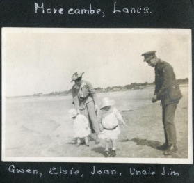 James Atkinson-Jowett with Gwen and Joan Gower-Rees at Morecambe