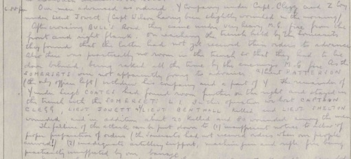 War Diary excerpt from 16 Sep 1916 (Source: The National Archives)