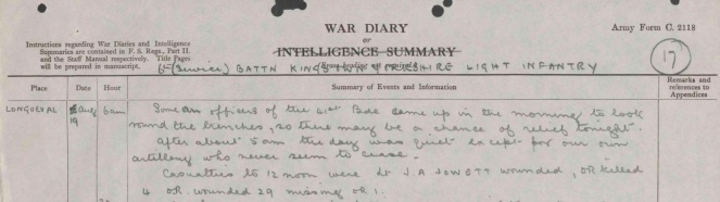 War Diary excerpt from 19 Aug 1916 (Source: The National Archives)