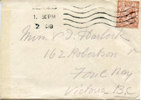 Letter dated 1 Dec 1918, cover