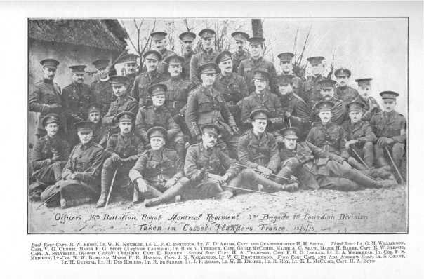 Officers of 14th Battalion on April 12, 1915 (Source: The Royal Montreal Regiment, 14th Battalion, C.E.F., 1914-1925)