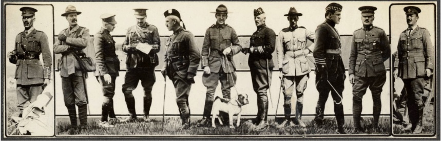 Officers, left to right: Lieutenant Colonel H. A. Panet, R.C.H.A., Kingston; Lieutenant Potts, Calgary; Major G. Kermis-Betty; Lieutenant Colonel Burstall; Major Loomis, 5th Royal Highlanders; Lieutenant Colonel C. D. McPherson, 18th Montreal Rifles; Major Richardson, 78th Highlanders; Lieutenant A. G. Chute; Major E.G. Noseworthy, 5th Royal Highlanders; Sergeant Major F. W. Utton, R.C.R.; Captain T.C. Kilburn, R.C.R. Photographer: J.A. Millar (Source: Special Collections and University Archives, University of Victoria)