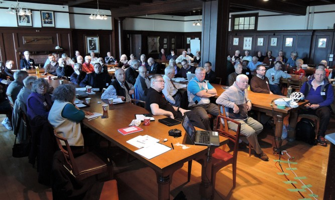 A packed Sir Arthur Currie Room at the Bay Street Armoury for Saturday's five guest speakers