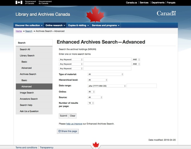 Screen 1 - LAC Enhanced Archives Search - Advanced