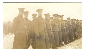 """Soldiers from the 135th Battalion. This photo was used on the cover of Desmond Morton's """"Fight or Pay"""". Courtesy: M. I. Pirie collection."""