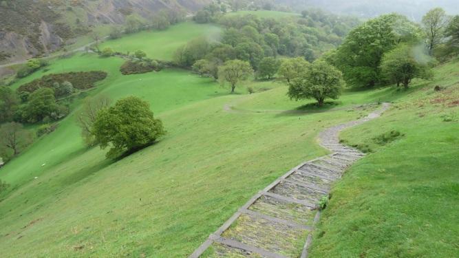 Descending Castell Dinas Bran near Llangollen, Wales