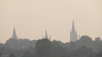 Spires in Ypres (Cloth Hall Bell Tower on the right)