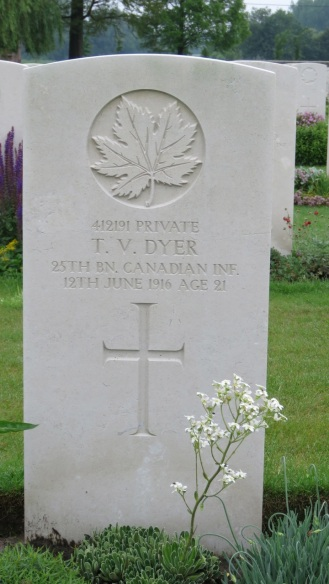Pte. T.V. Dyer, one of 6 Canadians buried at Railway Dugouts Cemetery who died 100 years ago to the day