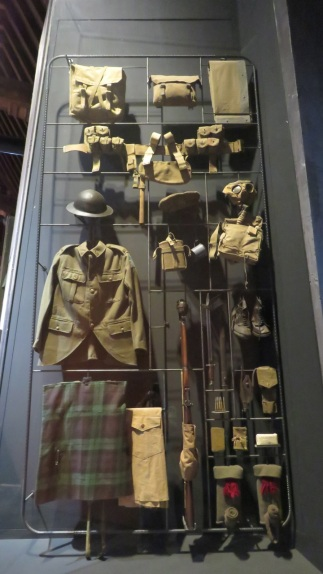 Canadian uniform display at In Flanders Fields Museum