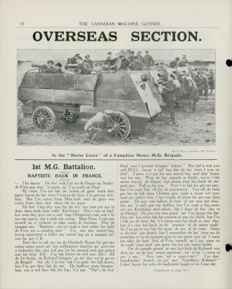 Motor Machine Gun Brigade in the horsiness, CMG Vol. 1 No. 12, July 1918. Source: Library and Archives Canada