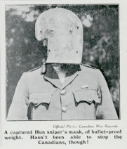 Captured Sniper's Mask, CMG Vol. 1 No. 17, December 1918. Source: Library and Archives Canada
