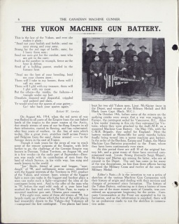 The Yukon Machine Gun Battery, CMG Vol. 1 No. 4, November 1917. Source: Library and Archives Canada