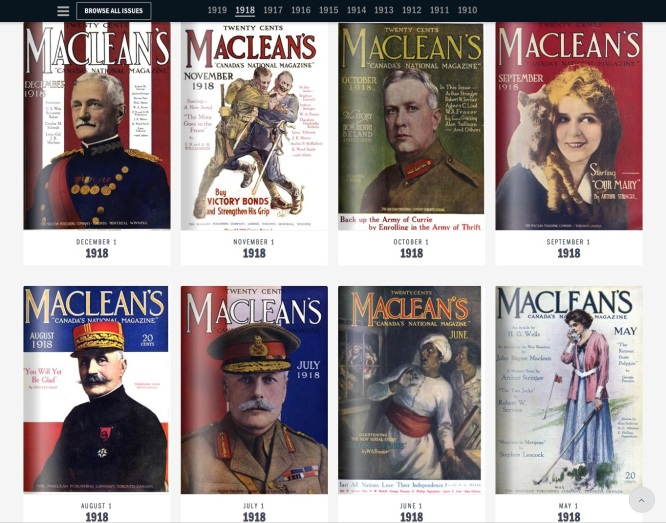 Browsing the 1918 issues at the new online Maclean's Archive