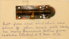 Barrow Bomb Incident artefact, image 6. Source: Victoria to Vimy Exhibit UVic Library Special Collections