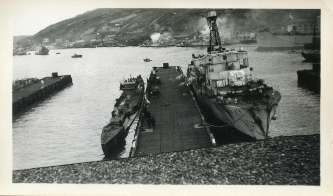 U-190 and HMCS Arnprior in St. John's Harbour, June 1945
