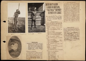 Florence Westman Scrapbook, image 47. Source: Victoria to Vimy Exhibit UVic Library Special Collections