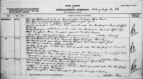 5th Army Troop, C.E. War Diary excerpt. Source: Library & Archives Canada