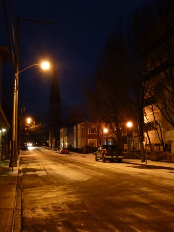 Chilly Cormorant Street with the steeple of Saint John the Devine in the background