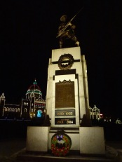 Victoria's refurbished Cenotaph on a cold December night