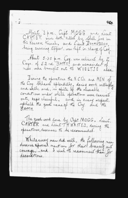 From 7th Bn War Diary Nov 1917. Source: Library & Archives Canada