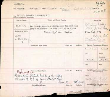 CEF Commonwealth War Graves Register for L/Cpl Frank Willey (Source: Ancestry.com)