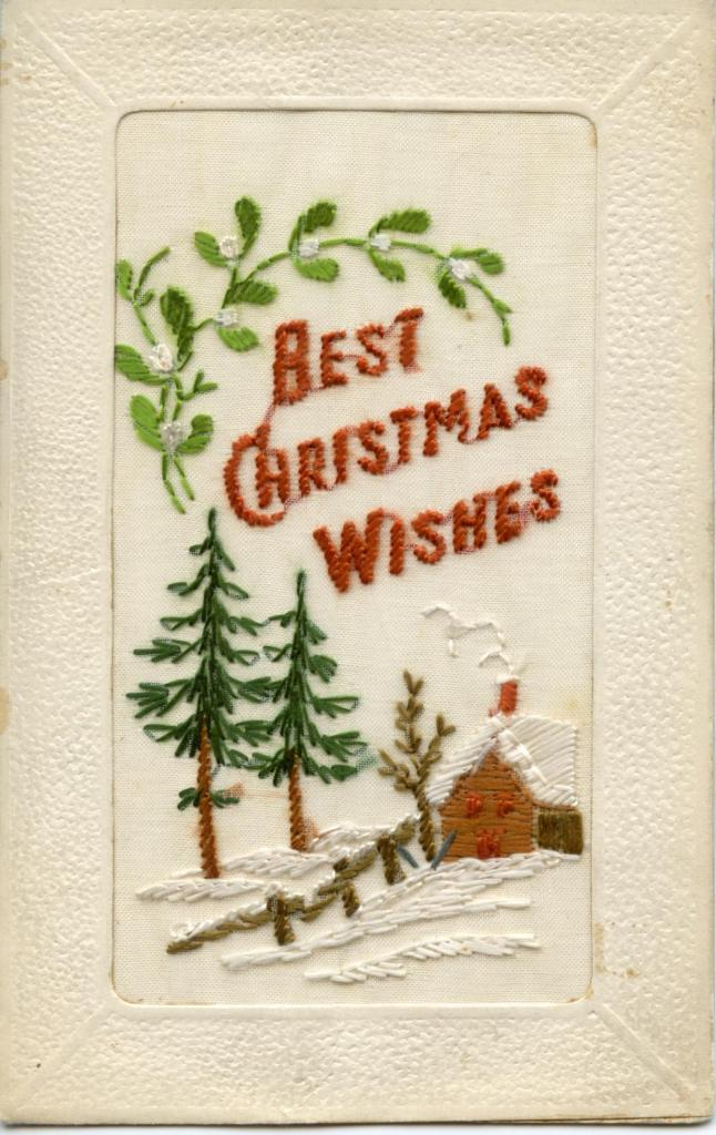 An embroidered Christmas card from a soldier in France to his sister in 1916
